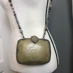 Maya Hardshell Sculptured Handbag Beaded Strap